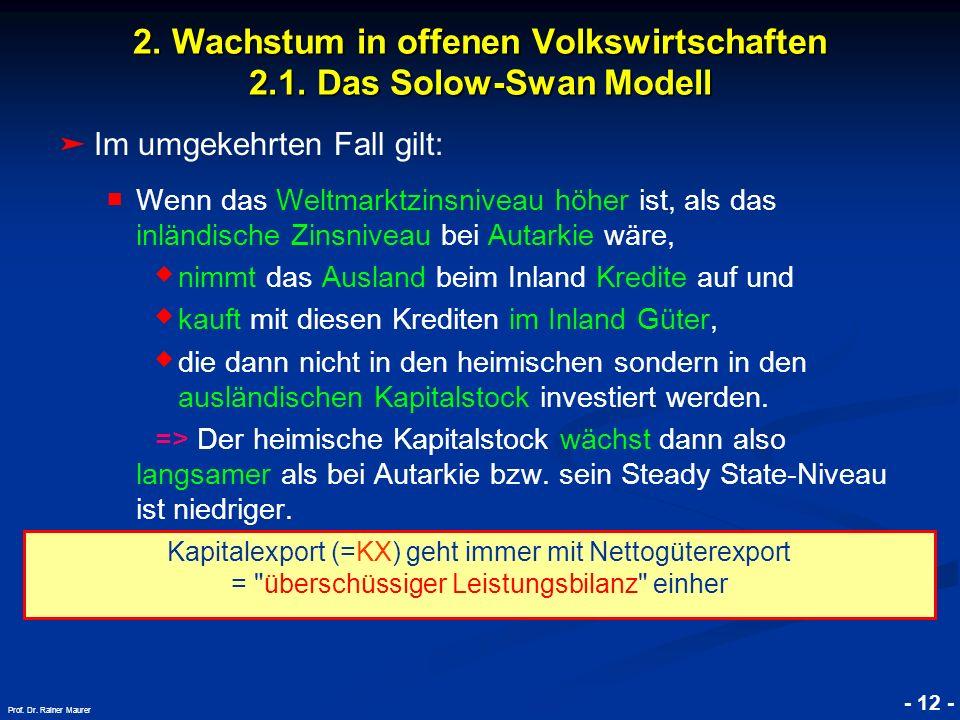 © RAINER MAURER, Pforzheim - 12 - Prof. Dr. Rainer Maurer 2. Wachstum in offenen Volkswirtschaften 2.1. Das Solow-Swan Modell Im umgekehrten Fall gilt
