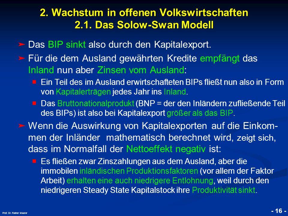 © RAINER MAURER, Pforzheim - 16 - Prof. Dr. Rainer Maurer 2. Wachstum in offenen Volkswirtschaften 2.1. Das Solow-Swan Modell Das BIP sinkt also durch