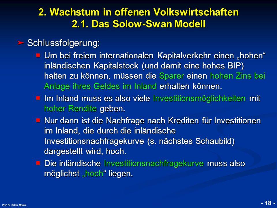 © RAINER MAURER, Pforzheim - 18 - Prof. Dr. Rainer Maurer 2. Wachstum in offenen Volkswirtschaften 2.1. Das Solow-Swan Modell Schlussfolgerung: Schlus