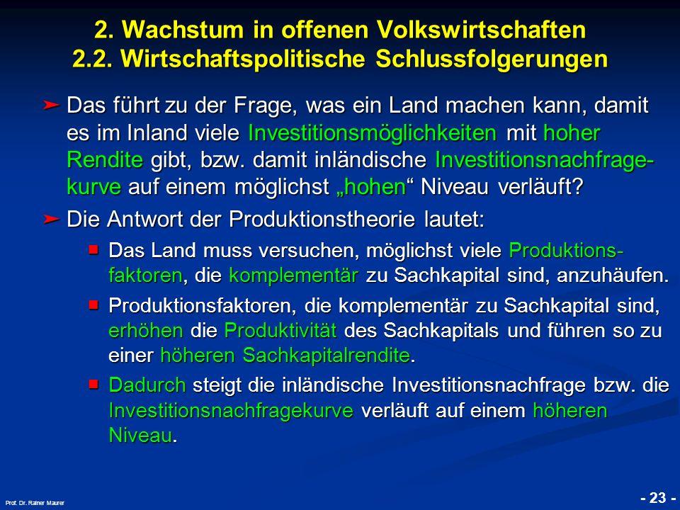 © RAINER MAURER, Pforzheim - 23 - Prof. Dr. Rainer Maurer 2. Wachstum in offenen Volkswirtschaften 2.2. Wirtschaftspolitische Schlussfolgerungen Das f