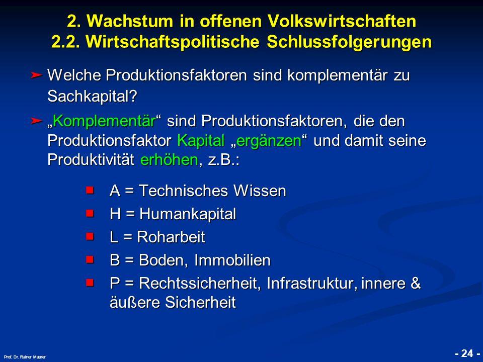 © RAINER MAURER, Pforzheim - 24 - Prof. Dr. Rainer Maurer 2. Wachstum in offenen Volkswirtschaften 2.2. Wirtschaftspolitische Schlussfolgerungen Welch