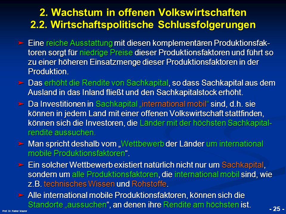 © RAINER MAURER, Pforzheim - 25 - Prof. Dr. Rainer Maurer 2. Wachstum in offenen Volkswirtschaften 2.2. Wirtschaftspolitische Schlussfolgerungen Eine