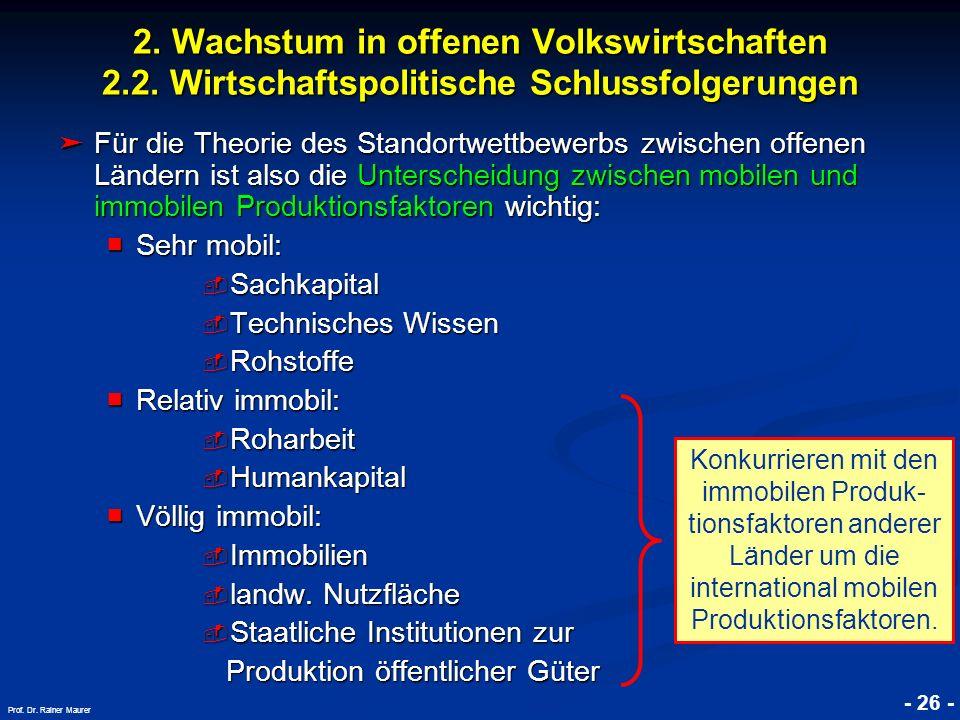 © RAINER MAURER, Pforzheim - 26 - Prof. Dr. Rainer Maurer 2. Wachstum in offenen Volkswirtschaften 2.2. Wirtschaftspolitische Schlussfolgerungen Für d