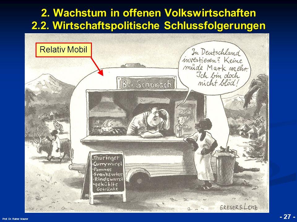 © RAINER MAURER, Pforzheim - 27 - Prof. Dr. Rainer Maurer 2. Wachstum in offenen Volkswirtschaften 2.2. Wirtschaftspolitische Schlussfolgerungen Relat