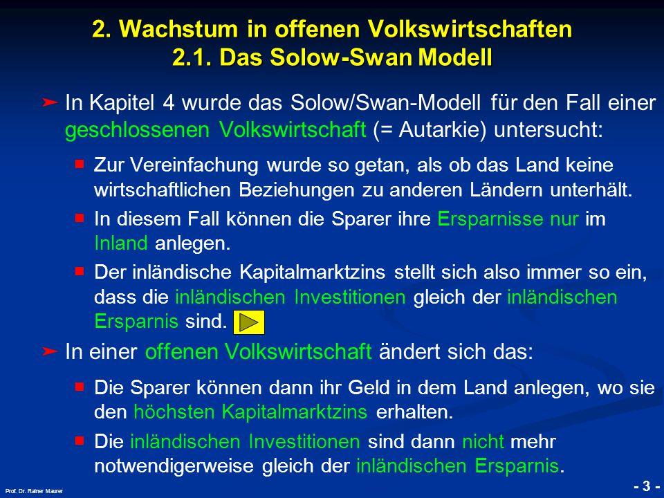 © RAINER MAURER, Pforzheim - 3 - Prof. Dr. Rainer Maurer 2. Wachstum in offenen Volkswirtschaften 2.1. Das Solow-Swan Modell In Kapitel 4 wurde das So