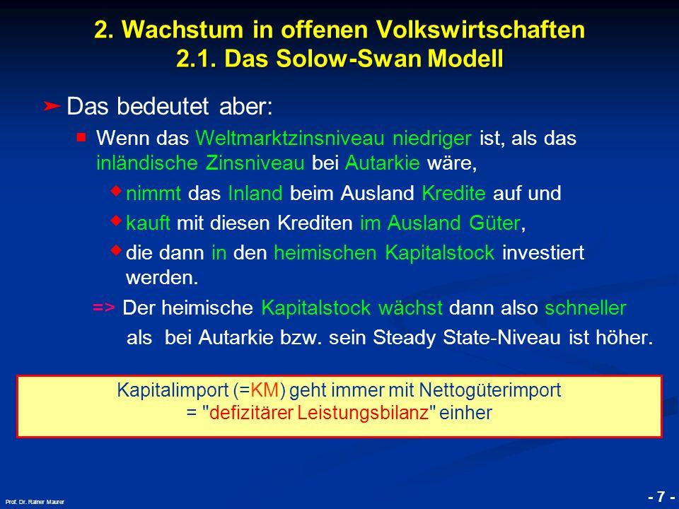© RAINER MAURER, Pforzheim - 7 - Prof. Dr. Rainer Maurer 2. Wachstum in offenen Volkswirtschaften 2.1. Das Solow-Swan Modell Das bedeutet aber: Wenn d