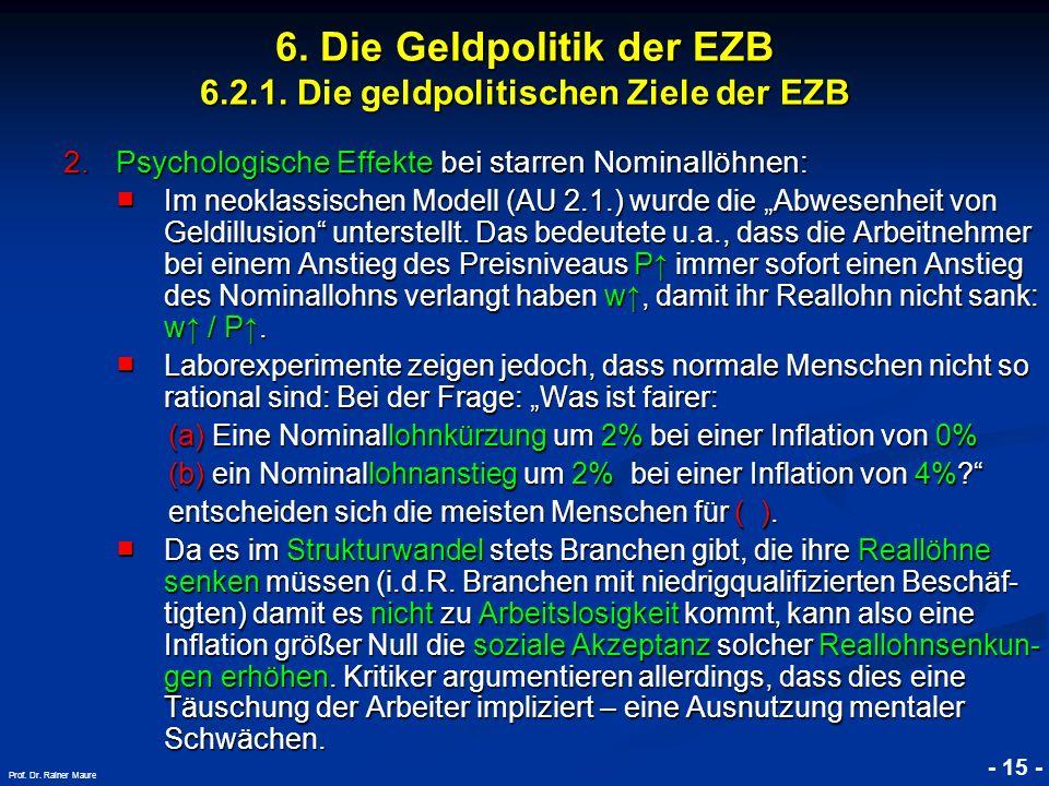 © RAINER MAURER, Pforzheim - 15 - Prof. Dr. Rainer Maure 6. Die Geldpolitik der EZB 6.2.1. Die geldpolitischen Ziele der EZB 2.Psychologische Effekte