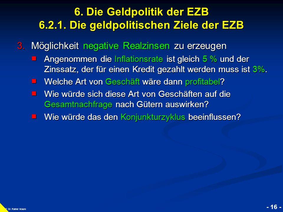 © RAINER MAURER, Pforzheim - 16 - Prof. Dr. Rainer Maure 3.Möglichkeit negative Realzinsen zu erzeugen Angenommen die Inflationsrate ist gleich 5 % un