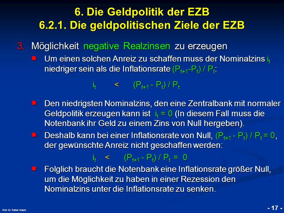 © RAINER MAURER, Pforzheim - 17 - Prof. Dr. Rainer Maure 3.Möglichkeit negative Realzinsen zu erzeugen Um einen solchen Anreiz zu schaffen muss der No