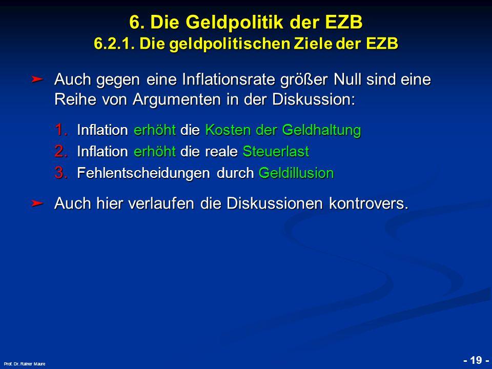 © RAINER MAURER, Pforzheim - 19 - Prof. Dr. Rainer Maure 6. Die Geldpolitik der EZB 6.2.1. Die geldpolitischen Ziele der EZB Auch gegen eine Inflation