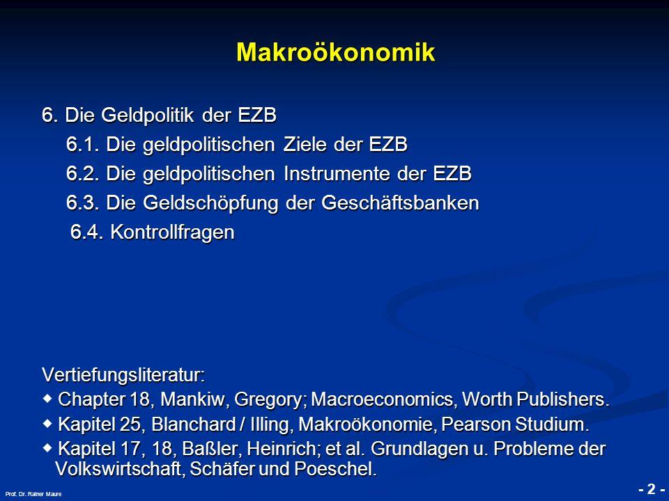 © RAINER MAURER, Pforzheim - 2 - Prof. Dr. Rainer Maure Makroökonomik 6. Die Geldpolitik der EZB 6.1. Die geldpolitischen Ziele der EZB 6.1. Die geldp