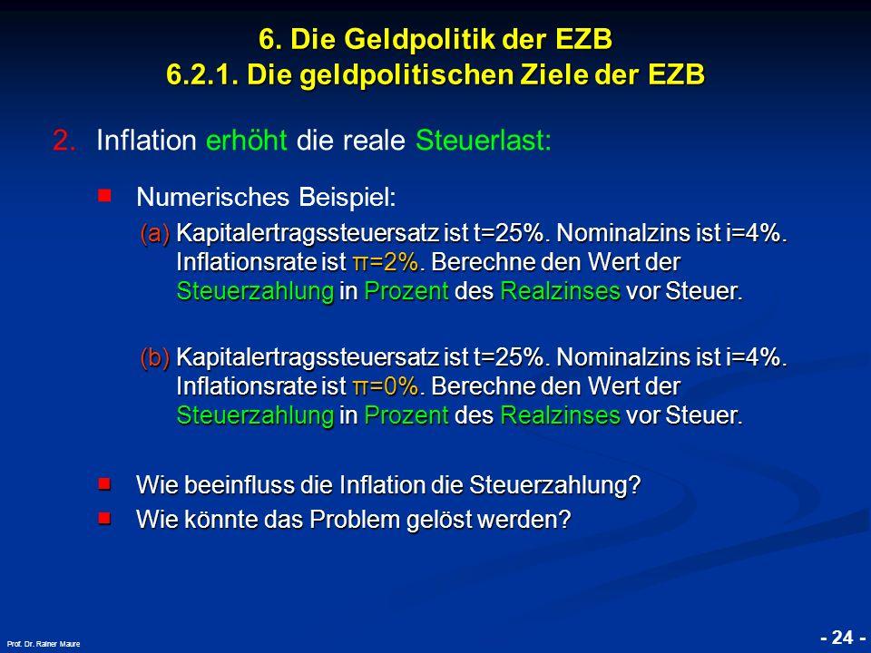 © RAINER MAURER, Pforzheim - 24 - Prof. Dr. Rainer Maure 6. Die Geldpolitik der EZB 6.2.1. Die geldpolitischen Ziele der EZB 2.Inflation erhöht die re