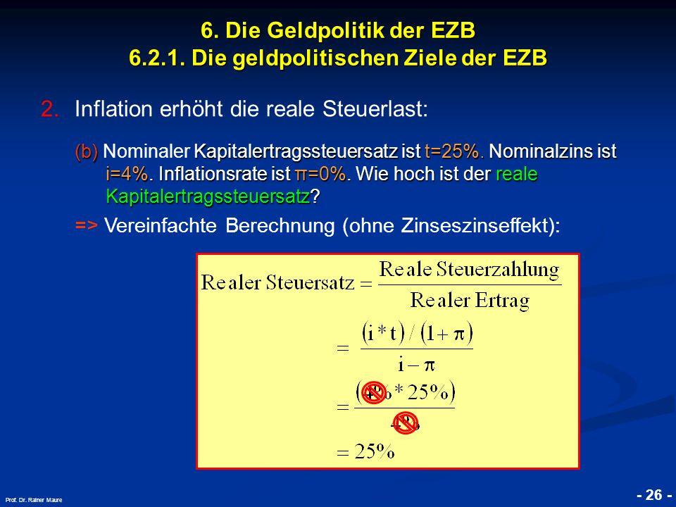 © RAINER MAURER, Pforzheim - 26 - Prof. Dr. Rainer Maure 6. Die Geldpolitik der EZB 6.2.1. Die geldpolitischen Ziele der EZB 2.Inflation erhöht die re