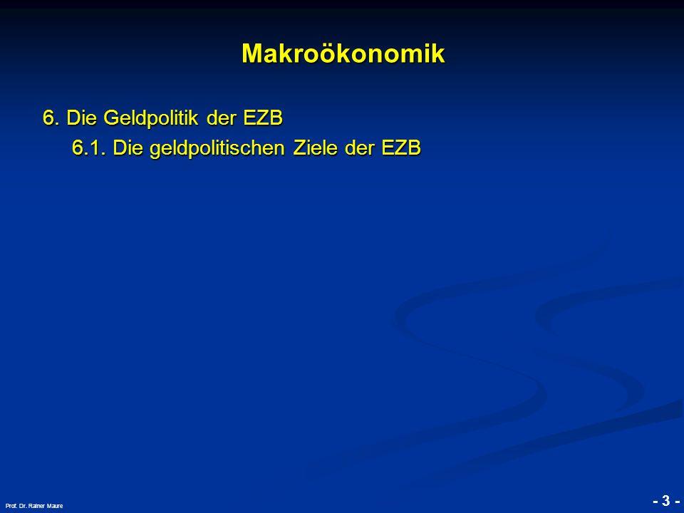 © RAINER MAURER, Pforzheim - 3 - Prof. Dr. Rainer Maure Makroökonomik 6. Die Geldpolitik der EZB 6.1. Die geldpolitischen Ziele der EZB 6.1. Die geldp