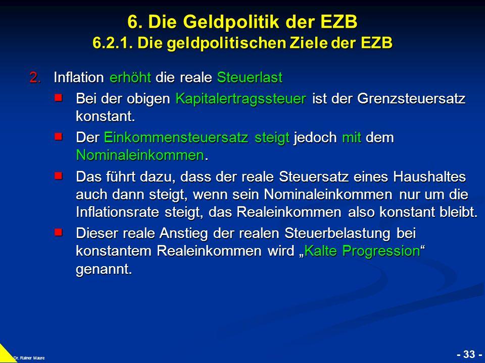 © RAINER MAURER, Pforzheim - 33 - Prof. Dr. Rainer Maure 6. Die Geldpolitik der EZB 6.2.1. Die geldpolitischen Ziele der EZB 2.Inflation erhöht die re