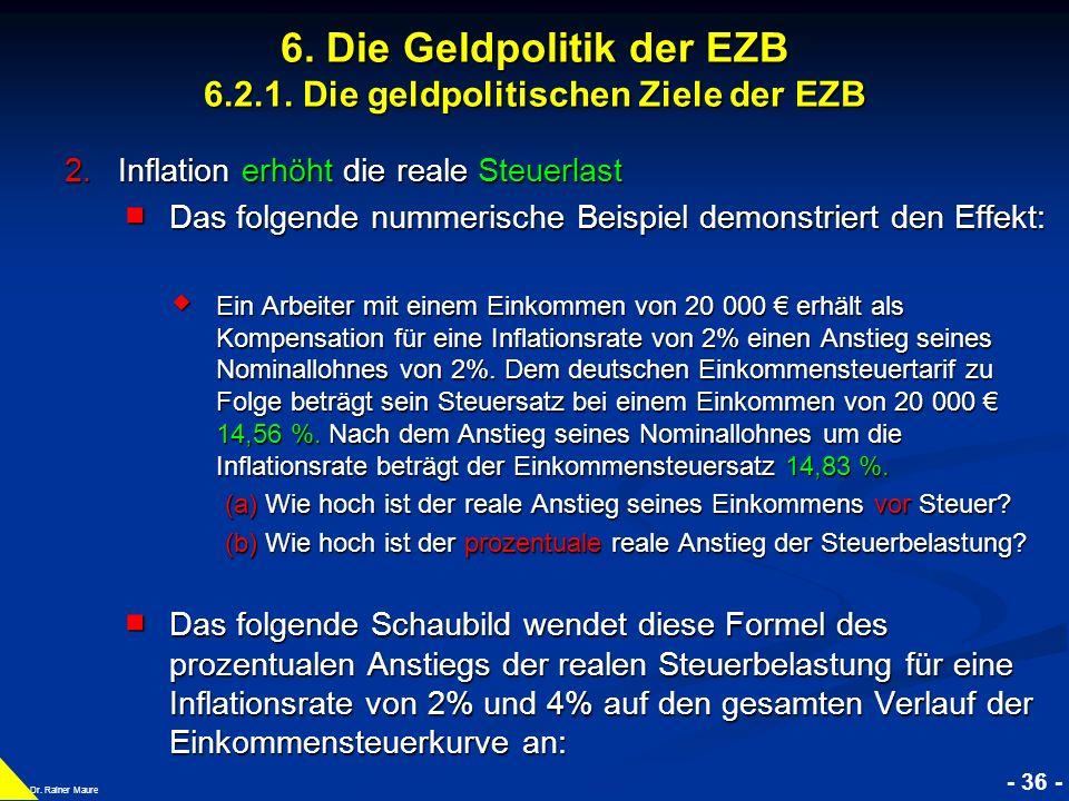 © RAINER MAURER, Pforzheim - 36 - Prof. Dr. Rainer Maure 6. Die Geldpolitik der EZB 6.2.1. Die geldpolitischen Ziele der EZB 2.Inflation erhöht die re