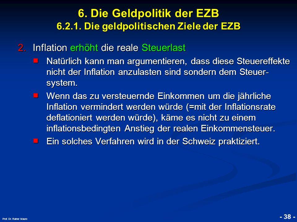 © RAINER MAURER, Pforzheim - 38 - Prof. Dr. Rainer Maure 6. Die Geldpolitik der EZB 6.2.1. Die geldpolitischen Ziele der EZB 2.Inflation erhöht die re
