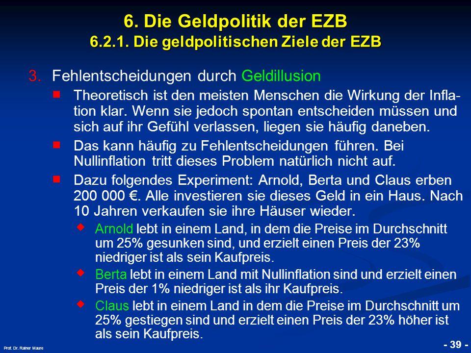 © RAINER MAURER, Pforzheim - 39 - Prof. Dr. Rainer Maure 6. Die Geldpolitik der EZB 6.2.1. Die geldpolitischen Ziele der EZB 3. 3.Fehlentscheidungen d
