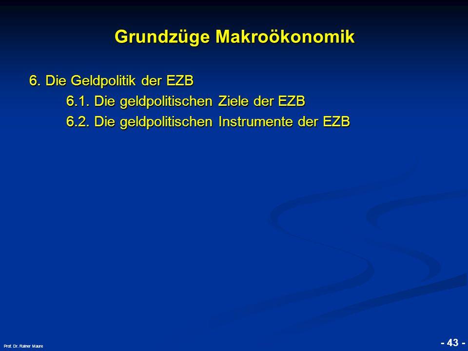 © RAINER MAURER, Pforzheim - 43 - Prof. Dr. Rainer Maure Grundzüge Makroökonomik 6. Die Geldpolitik der EZB 6.1. Die geldpolitischen Ziele der EZB 6.1
