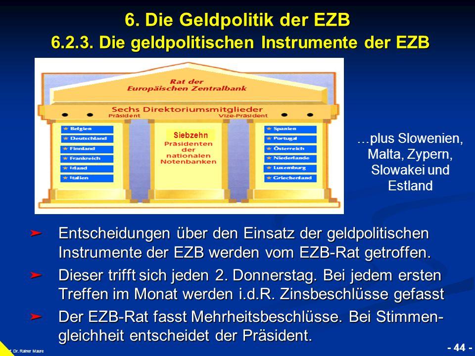 © RAINER MAURER, Pforzheim - 44 - Prof. Dr. Rainer Maure 6. Die Geldpolitik der EZB 6.2.3. Die geldpolitischen Instrumente der EZB Entscheidungen über
