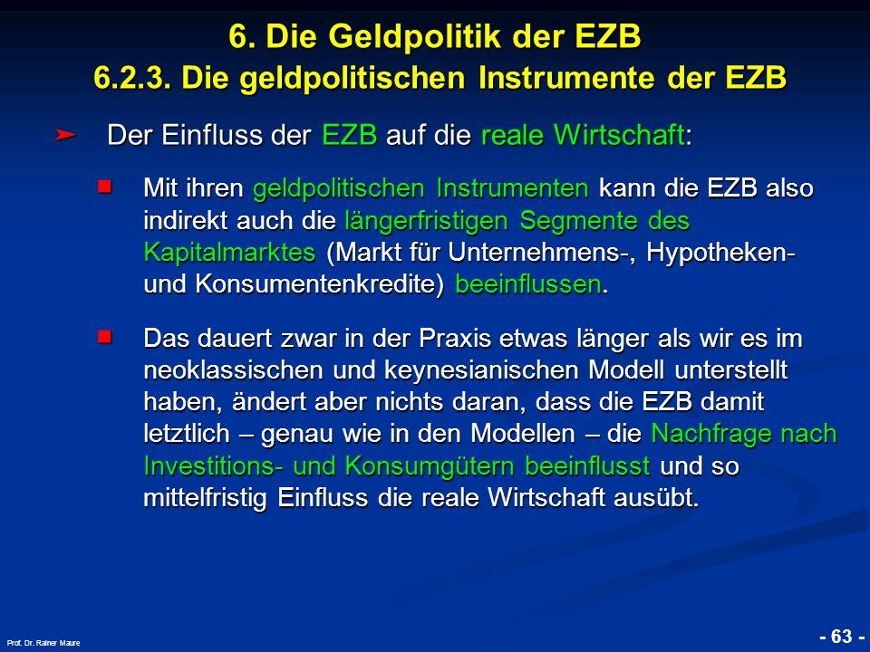 © RAINER MAURER, Pforzheim - 63 - Prof. Dr. Rainer Maure 6. Die Geldpolitik der EZB 6.2.3. Die geldpolitischen Instrumente der EZB Der Einfluss der EZ