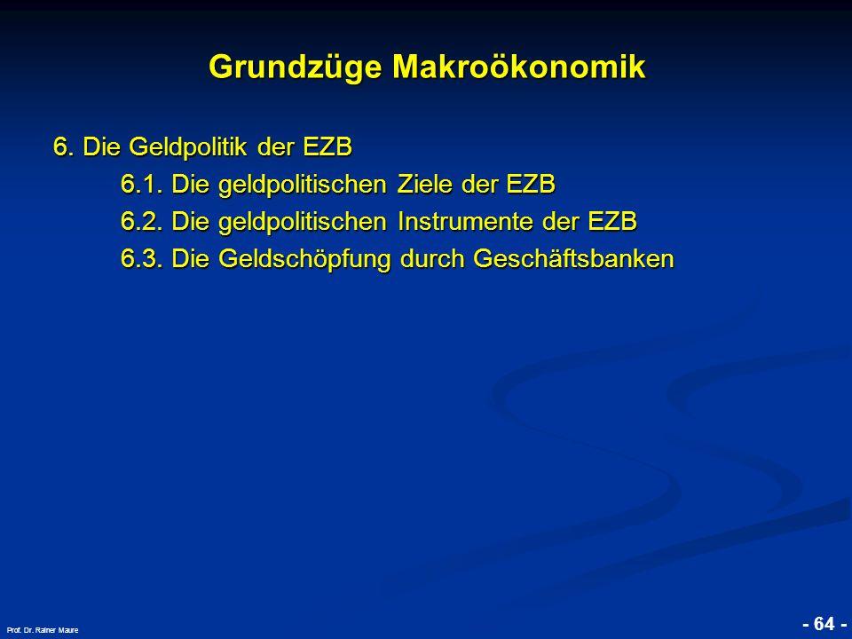 © RAINER MAURER, Pforzheim - 64 - Prof. Dr. Rainer Maure Grundzüge Makroökonomik 6. Die Geldpolitik der EZB 6.1. Die geldpolitischen Ziele der EZB 6.1