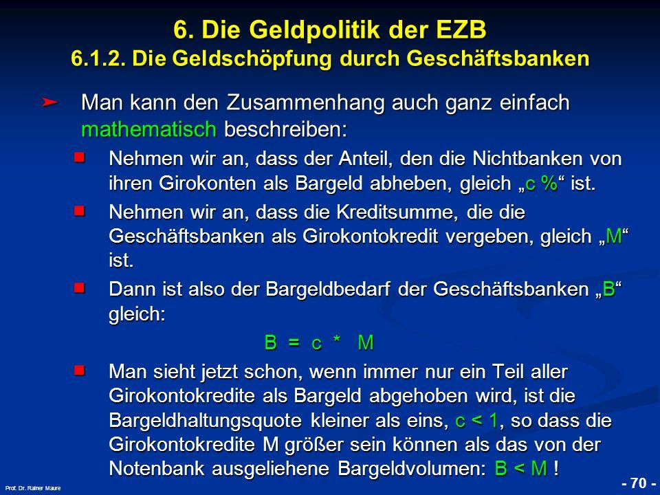 © RAINER MAURER, Pforzheim - 70 - Prof. Dr. Rainer Maure 6. Die Geldpolitik der EZB 6.1.2. Die Geldschöpfung durch Geschäftsbanken Man kann den Zusamm