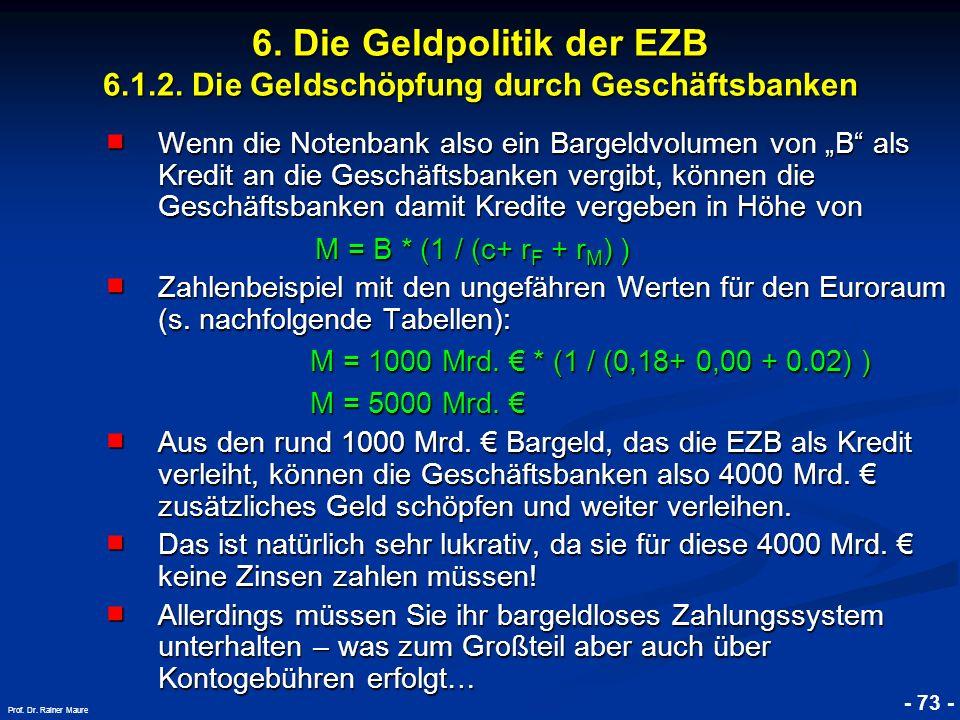© RAINER MAURER, Pforzheim - 73 - Prof. Dr. Rainer Maure 6. Die Geldpolitik der EZB 6.1.2. Die Geldschöpfung durch Geschäftsbanken Wenn die Notenbank