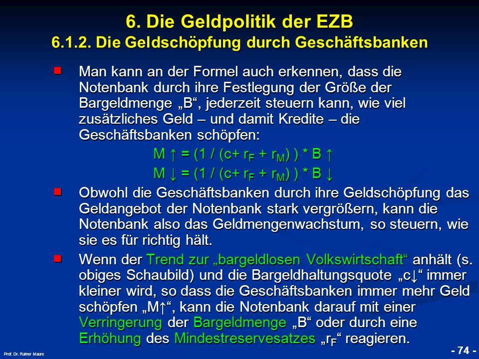 © RAINER MAURER, Pforzheim - 74 - Prof. Dr. Rainer Maure 6. Die Geldpolitik der EZB 6.1.2. Die Geldschöpfung durch Geschäftsbanken Man kann an der For