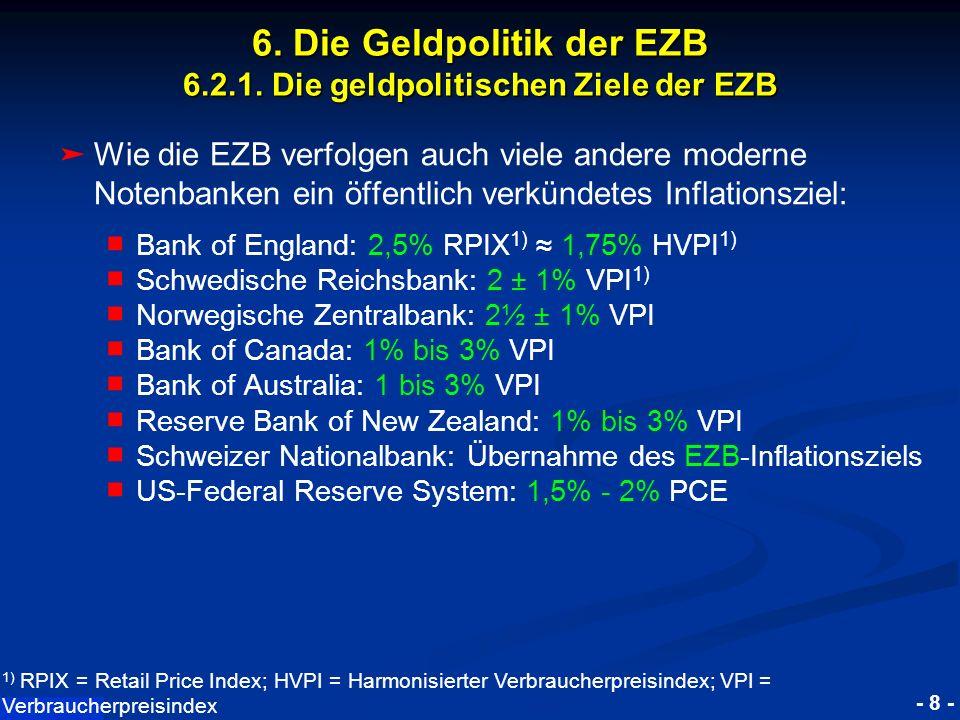 © RAINER MAURER, Pforzheim - 8 - Prof. Dr. Rainer Maure 6. Die Geldpolitik der EZB 6.2.1. Die geldpolitischen Ziele der EZB Wie die EZB verfolgen auch