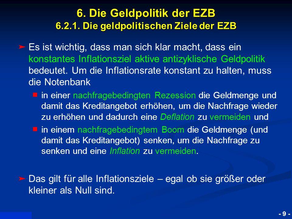 © RAINER MAURER, Pforzheim - 9 - Prof. Dr. Rainer Maure 6. Die Geldpolitik der EZB 6.2.1. Die geldpolitischen Ziele der EZB Es ist wichtig, dass man s