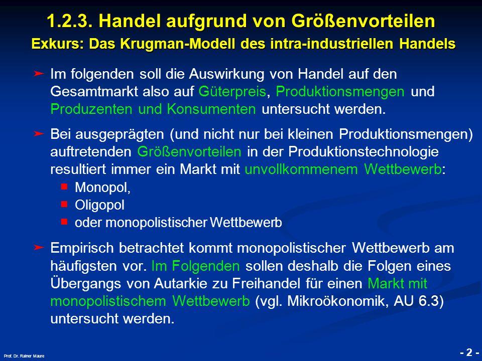© RAINER MAURER, Pforzheim - 2 - Prof. Dr. Rainer Maure Im folgenden soll die Auswirkung von Handel auf den Gesamtmarkt also auf Güterpreis, Produktio