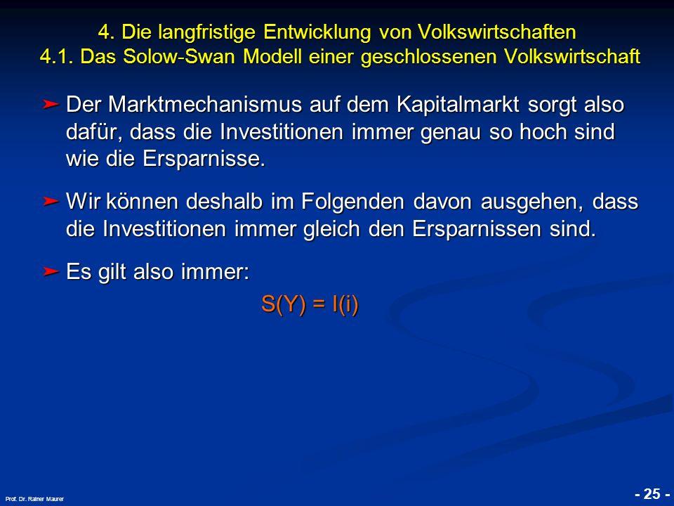 © RAINER MAURER, Pforzheim - 25 - Prof. Dr. Rainer Maurer Der Marktmechanismus auf dem Kapitalmarkt sorgt also dafür, dass die Investitionen immer gen
