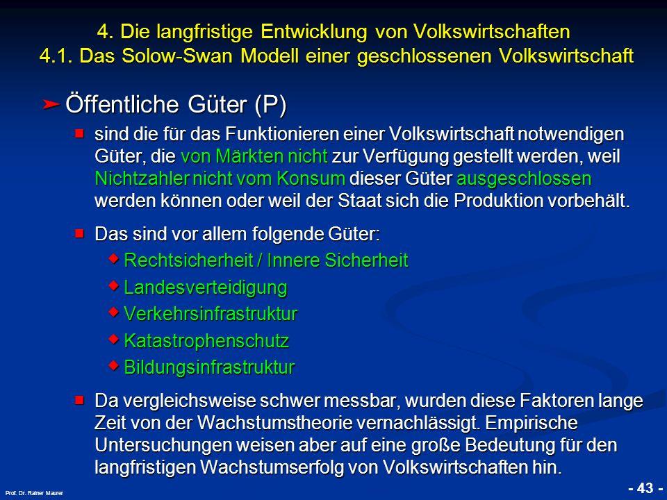 © RAINER MAURER, Pforzheim - 43 - Prof. Dr. Rainer Maurer 4. Die langfristige Entwicklung von Volkswirtschaften 4.1. Das Solow-Swan Modell einer gesch