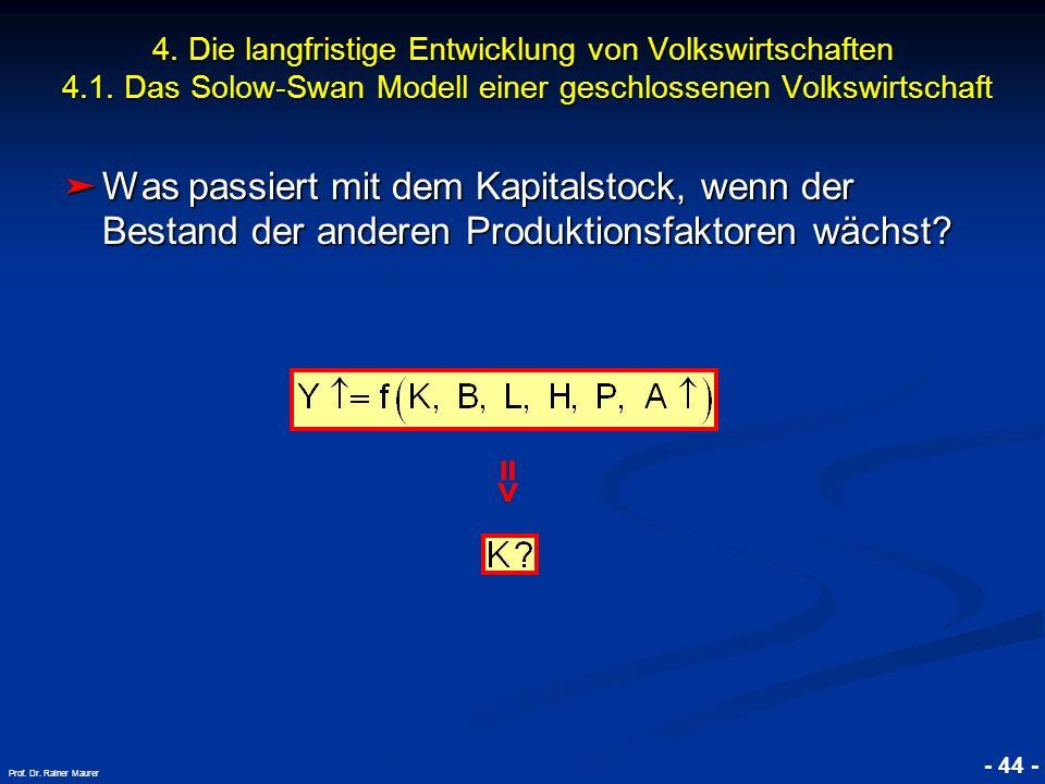 © RAINER MAURER, Pforzheim - 44 - Prof. Dr. Rainer Maurer Was passiert mit dem Kapitalstock, wenn der Bestand der anderen Produktionsfaktoren wächst?