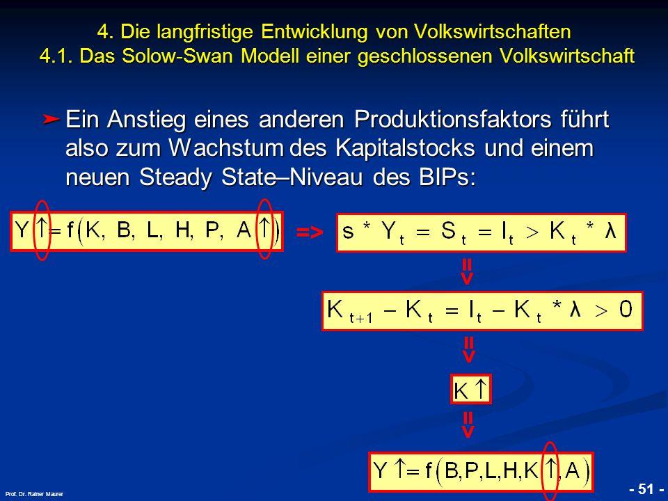 © RAINER MAURER, Pforzheim - 51 - Prof. Dr. Rainer Maurer Ein Anstieg eines anderen Produktionsfaktors führt also zum Wachstum des Kapitalstocks und e