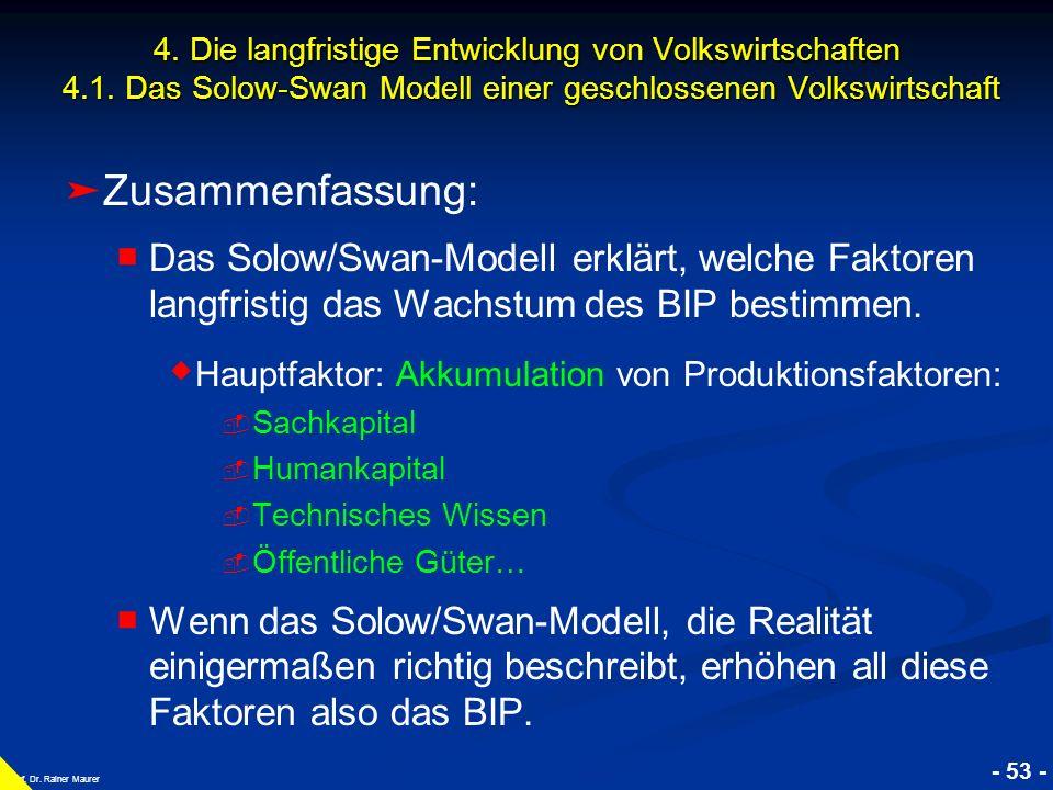 © RAINER MAURER, Pforzheim - 53 - Prof. Dr. Rainer Maurer Zusammenfassung: Das Solow/Swan-Modell erklärt, welche Faktoren langfristig das Wachstum des