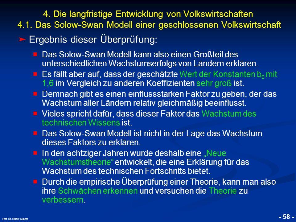 © RAINER MAURER, Pforzheim - 58 - Prof. Dr. Rainer Maurer Ergebnis dieser Überprüfung: Das Solow-Swan Modell kann also einen Großteil des unterschiedl