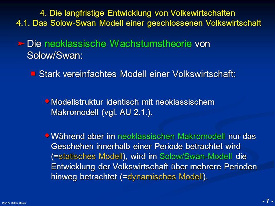 © RAINER MAURER, Pforzheim - 7 - Prof. Dr. Rainer Maurer Die neoklassische Wachstumstheorie von Solow/Swan: Die neoklassische Wachstumstheorie von Sol