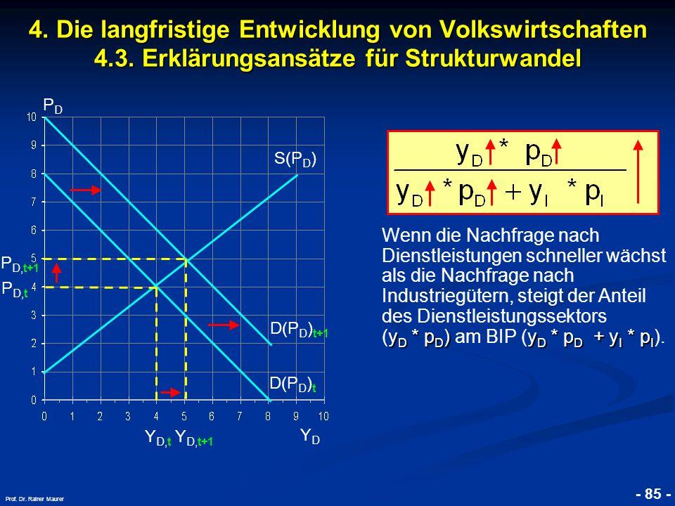 © RAINER MAURER, Pforzheim - 85 - Prof. Dr. Rainer Maurer 4. Die langfristige Entwicklung von Volkswirtschaften 4.3. Erklärungsansätze für Strukturwan