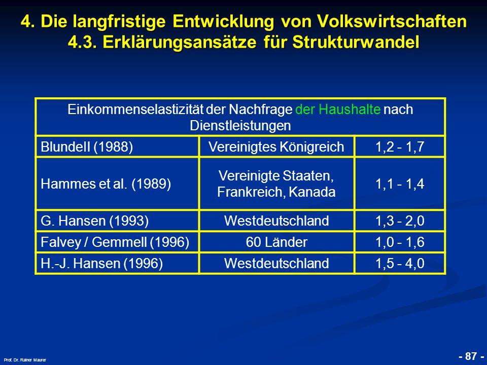 © RAINER MAURER, Pforzheim - 87 - Prof. Dr. Rainer Maurer 4. Die langfristige Entwicklung von Volkswirtschaften 4.3. Erklärungsansätze für Strukturwan