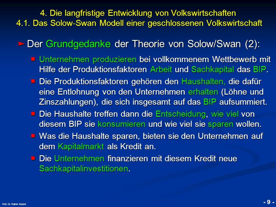 © RAINER MAURER, Pforzheim - 9 - Prof. Dr. Rainer Maurer 4. Die langfristige Entwicklung von Volkswirtschaften 4.1. Das Solow-Swan Modell einer geschl