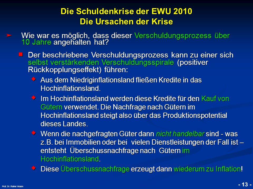 © RAINER MAURER, Pforzheim Die Schuldenkrise der EWU 2010 Die Ursachen der Krise - 13 - Prof. Dr. Rainer Maure Wie war es möglich, dass dieser Verschu