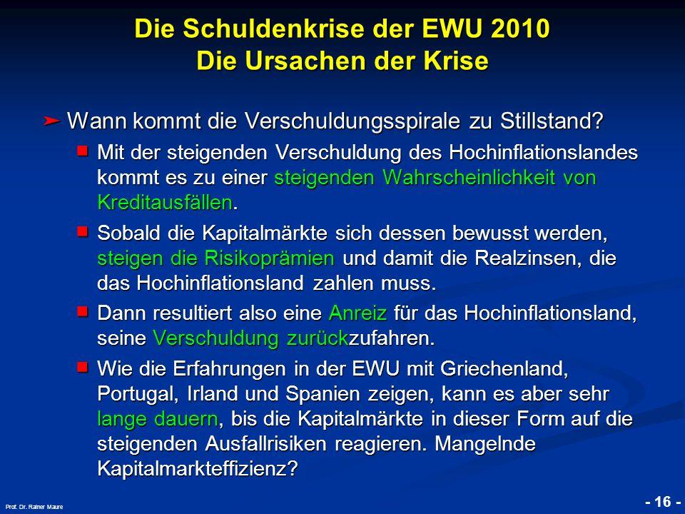 © RAINER MAURER, Pforzheim - 16 - Prof. Dr. Rainer Maure Wann kommt die Verschuldungsspirale zu Stillstand? Wann kommt die Verschuldungsspirale zu Sti