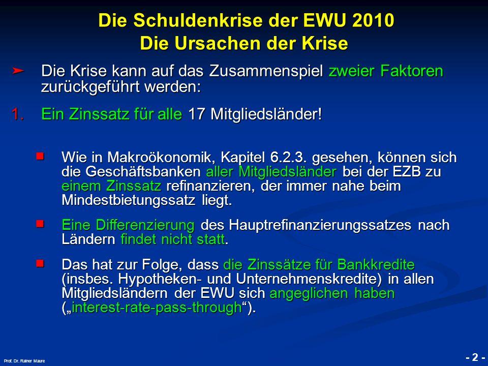 © RAINER MAURER, Pforzheim Die Schuldenkrise der EWU 2010 Die Ursachen der Krise Die Schuldenkrise der EWU 2010 Die Ursachen der Krise - 2 - Prof. Dr.