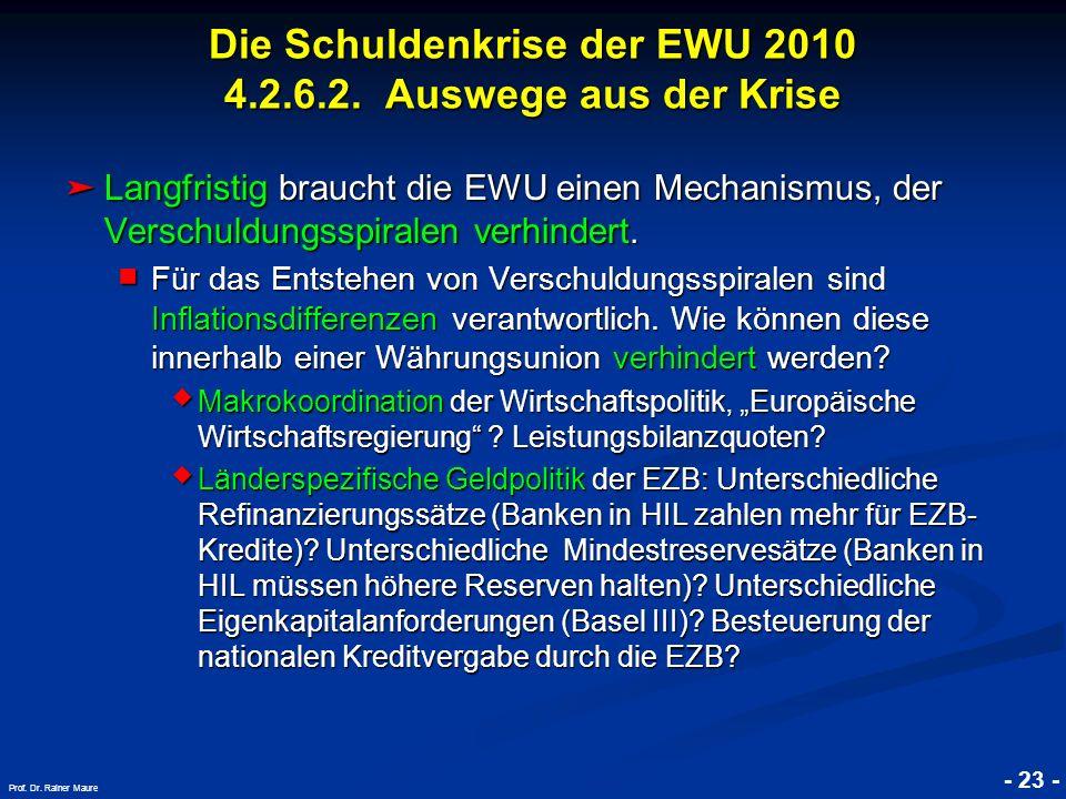 © RAINER MAURER, Pforzheim - 23 - Prof. Dr. Rainer Maure Langfristig braucht die EWU einen Mechanismus, der Verschuldungsspiralen verhindert. Langfris