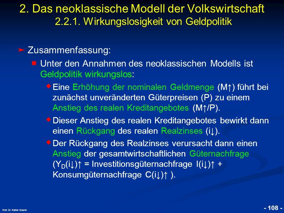 © RAINER MAURER, Pforzheim - 108 - Prof. Dr. Rainer Maurer 2. Das neoklassische Modell der Volkswirtschaft 2.2.1. Wirkungslosigkeit von Geldpolitik Zu