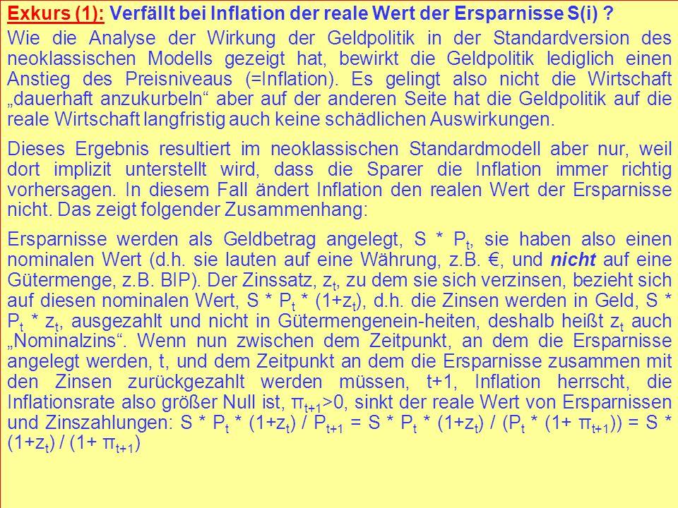 © RAINER MAURER, Pforzheim - 111 - Prof. Dr. Rainer Maurer Exkurs (1): Verfällt bei Inflation der reale Wert der Ersparnisse S(i) ? Wie die Analyse de