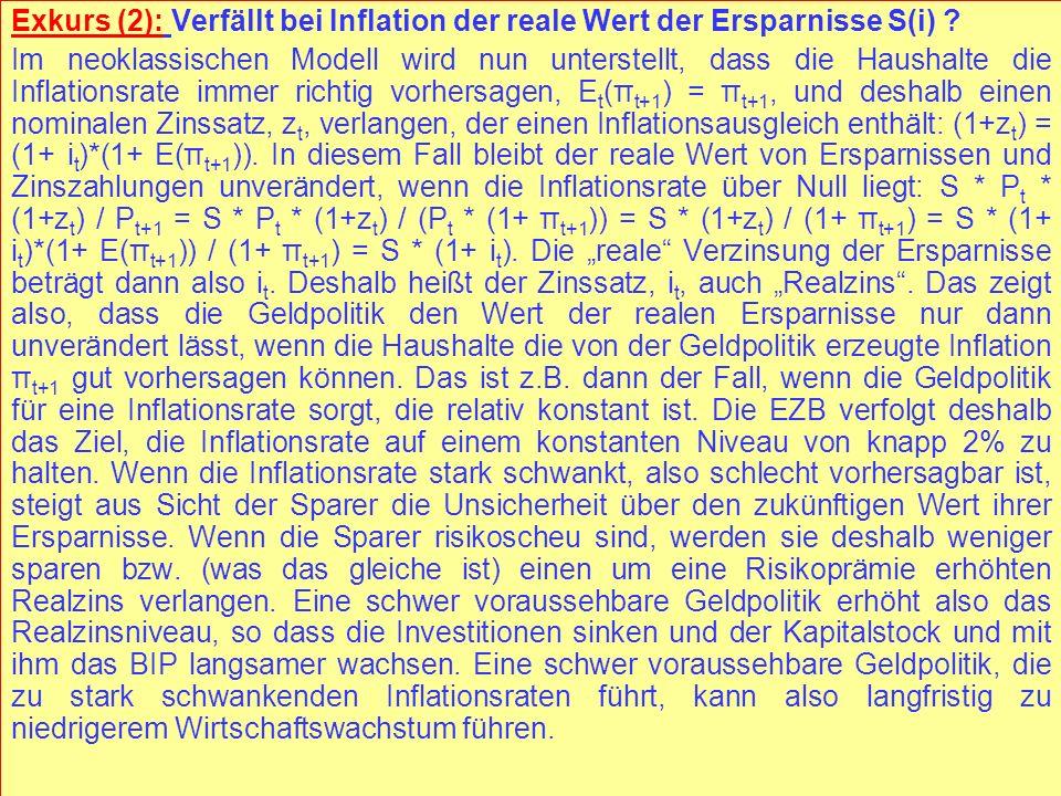 © RAINER MAURER, Pforzheim - 112 - Prof. Dr. Rainer Maurer Exkurs (2): Verfällt bei Inflation der reale Wert der Ersparnisse S(i) ? Im neoklassischen