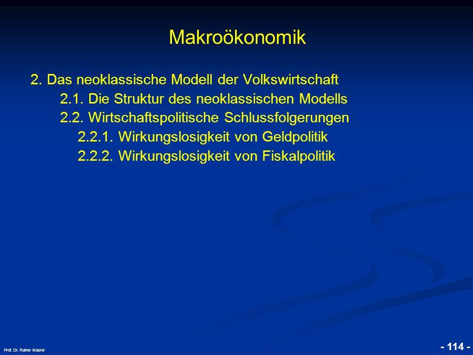 © RAINER MAURER, Pforzheim - 114 - Prof. Dr. Rainer Maurer Makroökonomik 2. Das neoklassische Modell der Volkswirtschaft 2.1. Die Struktur des neoklas